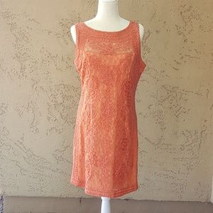 JS Collections - Coral Lace Sheath Dress